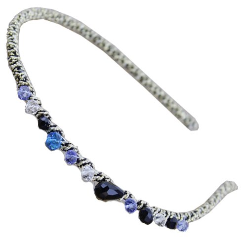 EYX Formula Korean New Headdress Handmade Crystal hairband, Fashion Colorful Delicate Crystal Rhinestones Headband for women girl (Blue hairband)