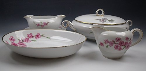 Gravy Boat Blossom (Lot of 4 Sone China SON10-PINK BLOSSOMS Serving Pieces EXCELLENT)
