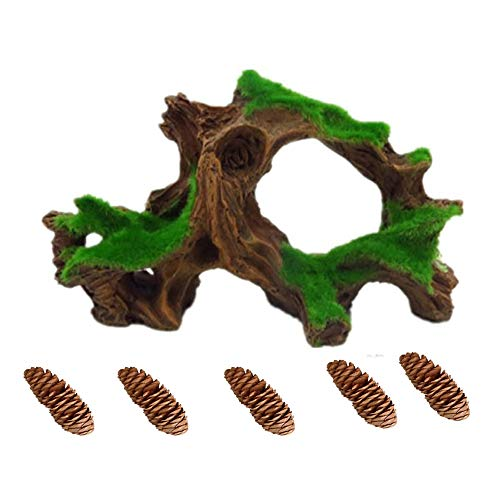 - Hamiledyi Aquarium Driftwood Fish Tank Cave Betta Log with Moss Resin Tree Trunk Aquarium Ornament Decoration (1pcs Driftwood and 5 pcs Pine Cones)