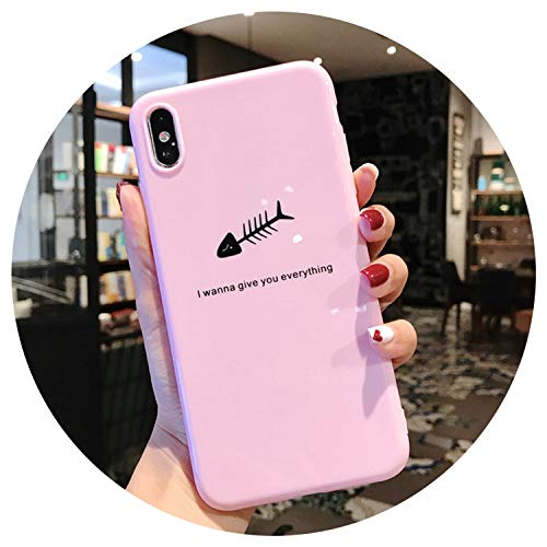 Silicone Feather Case for iPhone 7 8 Plus XS Max XR Xs Letter Phone Cases for iPhone X 8 7 6 6S Plus Soft TPU Back Cover,AC1561 Pink, for iPhone 6 6s