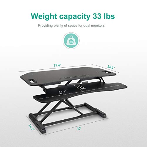 EleTab Height Adjustable Standing Desk Sit to Stand Gas Spring Riser Converter 37'' Tabletop Workstation fits Dual Monitor by EleTab (Image #1)