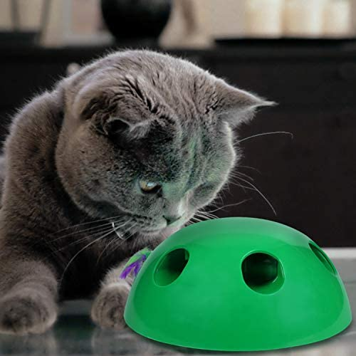 Sorinly Automatic Interactive Motion Cat Toy, Peek-A-Boo Play with Smart Random Moving Mouse Teaser & Feather, Built-in Mouse Squeak Sound & Auto Off, Funny Electronic Pet Toy for Kitty Scratching Tra 6