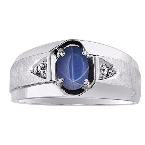 Blue Star Sapphire & Diamond Ring set in 14K Yellow or 14K White Gold