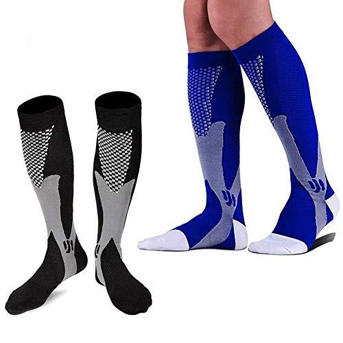 2 Pairs Graduated Compression Socks Women Men 20-30mmHg Knee High Plus Size Wide Calf for Nurse, Pregnancy, Flight, Travel, Running, Nursing,Medical,Athletic, Diabetic (L/XL) ()