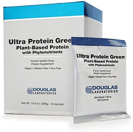Douglas Laboratories – Ultra Protein Green – Plant-Based Protein with Phytonutrients – French Vanilla Flavor – 10 Sachets – 1.09 oz Each