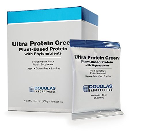 Douglas Laboratories - Ultra Protein Green - Plant-Based Protein with Phytonutrients - French Vanilla Flavor - 10 Sachets - 1.09 oz Each (Copper Powder Foundation)