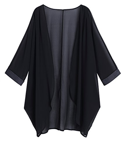 OLRAIN Women's Floral Print Sheer Chiffon Loose Kimono Cardigan Capes (Large, Black-1)