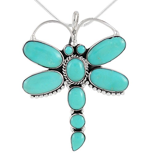 Dragonfly Turquoise Necklace Pendant in 925 Sterling Silver & Genuine Turquoise (20