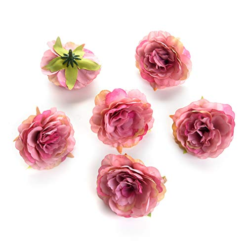 Flower heads in bulk wholesale for Crafts Silk Artificial Peony Flower Head for Garden Wedding Decoration DIY Brooch Fake Flowers Party Birthday Home Decor 20pcs/lot 6cm (Rose red) from Flower heads in bulk wholesale