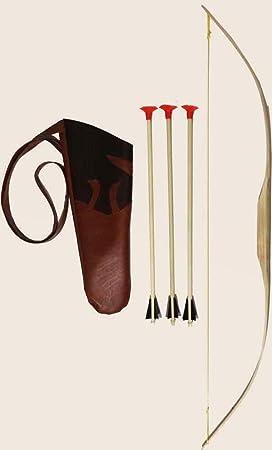 drei Pfeilen und Holzzielscheibe 30 x 30 cm Bogen Esche 90 cm mit K/öcher aus Kunstleder 40cm Kinderbogen Set