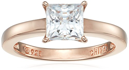 Rose Cut Ring - Rose-Gold Plated Sterling Silver Princess-Cut Solitaire Ring made with Swarovski Zirconia (1 cttw), Size 6