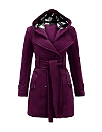 Jubileens Women's Winter Double Breasted Overcoat Hooded Trench Coat with Belt
