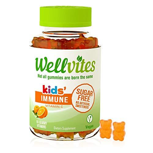 Wellvites Kids Immune Daily Sugar Free, Vegan Gummy Vitamin: Vitamin C – Sweetener Free, Gluten Free, Gelatin Free and…