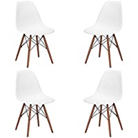 Poly and Bark Vortex Side Chair Walnut Legs, White, Set of 4