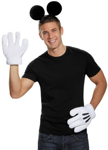 Mickey Mouse Ears Gloves Adult (Mickey Mouse Costume For Men)