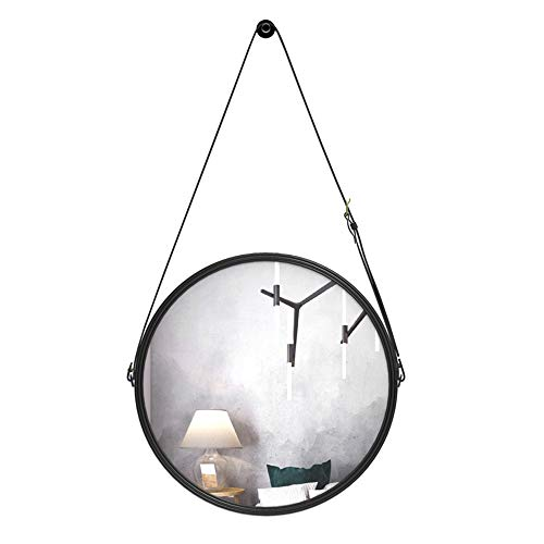 - Modern Bathroom Mirror Wall Hanging Round Vanity Dressing Makeup Mounted Mount Metal Frame Cosmetic Bedroom with Adjustable Strap