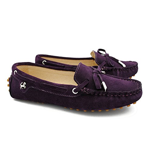 Minitoo Girls Womens Casual Comfortable Suede Leather Knot Loafers Boat Shoes Flats Dark Purple wbDUI