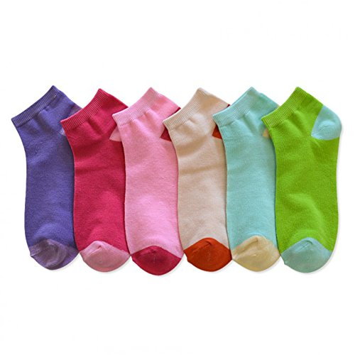 Two Tone Striped Socks (Womens Various Colors and Designs Fashion Ankle/Low Cut Socks Assorted (6 Pairs) (9-11,)