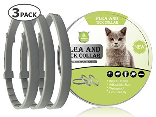 DAWO 3 Pack Cats Flea and Tick Collar - 8 Months Protection for Cat and Puppies - Waterproof, Adjustable, Hypoallergenic and Ultra Safe Insect Repellent with Natural Essential Oil