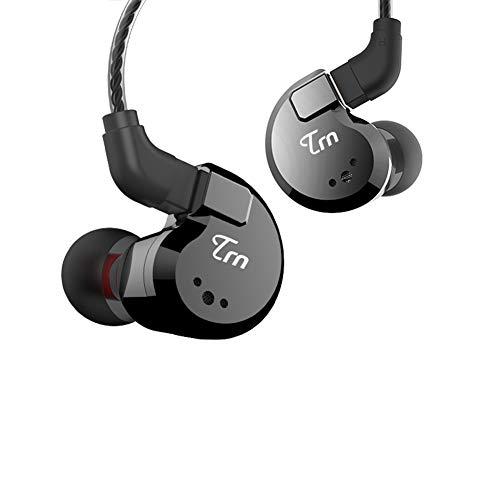 hellodigi TRN V80 2BA+2DD Hybrid in Ear Earphone,Quad Driver HiFi Monitors Dynamic Headphone,Super Bass with Detachable 0.75mm 2pin Cable,Black