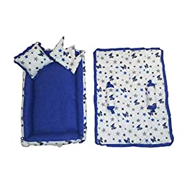 Miss Queen Newborn Baby's Unique Best Bed Combo Set of Soft Blanket with Mattress Pillow for Baby Sleeping, Play and…