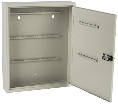Displays2go Locking Key Cabinet with 80 Hooks, Manual Combination Lock, Wall Mount, Gray Steel (PWCBN80TN) by Displays2go (Image #1)