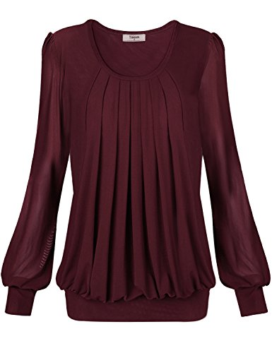 Timeson Tunic Tops Banded Bottom Fitted Bottom Blouses,Womens Blouses and Tops Dressy Long Sleeve Womens Long Sleeve Scoop Neck Pleated Front Fitted Blouse Top Medium Wine
