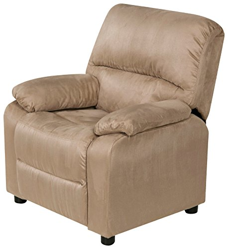 Relaxzen 60-7101KU08 USB Charging Contemporary Kids Recliner with Storage Arms, Beige by Relaxzen