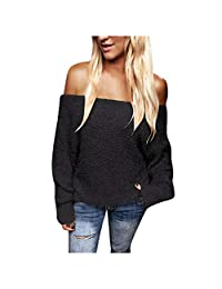 SNOWSONG Womens Off Shoulder Faux Fur Sweater Fluffy Fleece Sexy Long Sleeve Pullover Tunic Tops