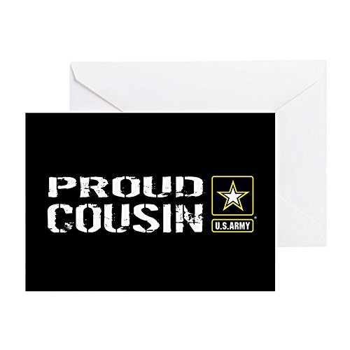 CafePress U.S. Army: Proud Cousin (Black) Greeting Card, Note Card, Birthday Card, Blank Inside Glossy