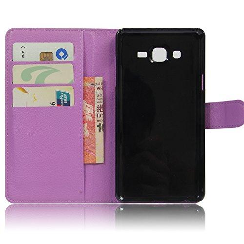 Qiaogle Teléfono Case - Funda de PU Cuero Billetera Clamshell Carcasa Cover para Samsung Galaxy Trend 2 Lite SM-G318H / SM-G313H - FC12 / Negro Moda Elegante estilo FC09 / Púrpura Moda Elegante estilo