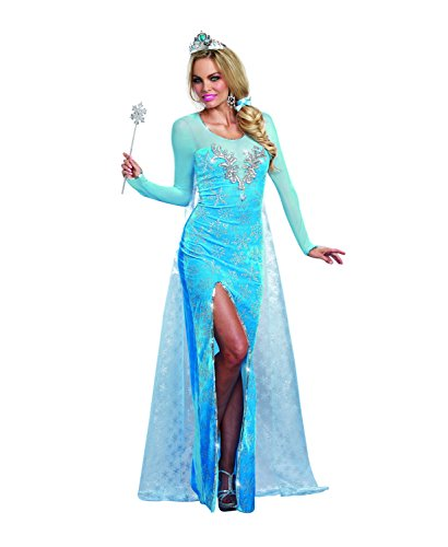 Dreamgirl Women's Sexy Scandinavian Fairytale Princess Costume, Ice Queen, Blue, -
