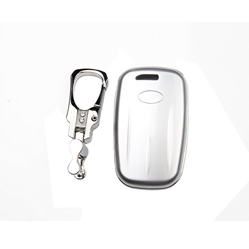 Silvery color (Abs)Smart keyless key cover holder fob bag keychain jackaet for Hyundai