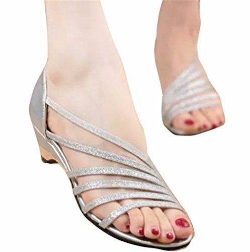 YUCH Kleidung Damen Sandalen mit Eleganten Pisten und Hausschuhe,Lila,38,
