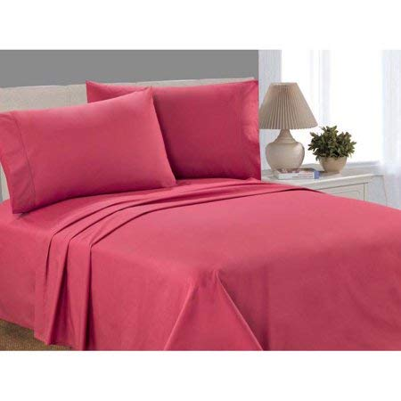 Mnstys 100% Cotton Percale, 200 Thread Count Sheet Set, Full Size - Garnet Rose Color