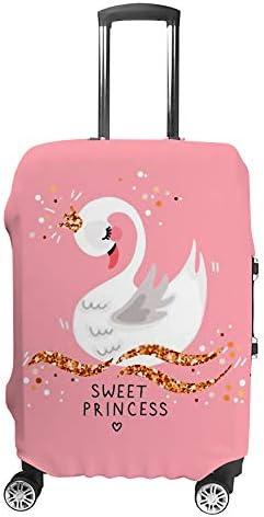 スーツケースカバー 伸縮素材 トランク カバー 洗える 汚れ防止 キズ保護 盗難防止 キャリーカバー おしゃれ 可愛い 白鳥柄 ポリエステル 海外旅行 見つけやすい 着脱簡単 1枚入り