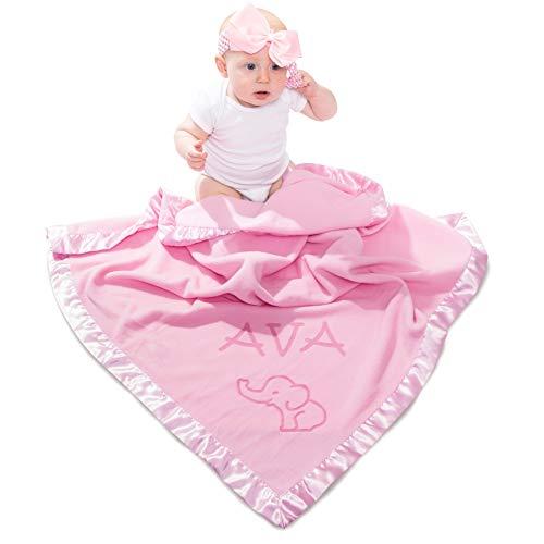 (Elephant Blanket Baby Boy, Girls - Nursery Décor, Soft Plush Fleece, Pink, Blue (1 Line of Text))