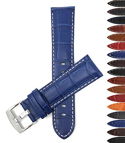 Bandini 22mm Mens Italian Leather Watch Band Strap - Royal Blue with White Stitch - Alligator Pattern