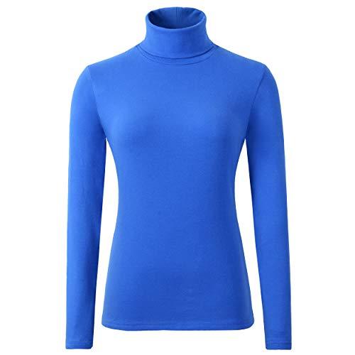 (HieasyFit Women's Cotton Turtleneck Top Basic Layering Thermal Underwear(Blue L))