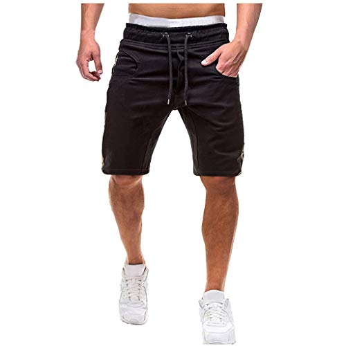 Houshelp Men's Running Workout Shorts Quick Dry Lightweight Athletic Pockets Loose Fit Cotton Outdoor Stretch Waist T Black ()