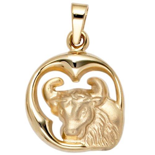 JOBO pendentif représentant le signe astrologique taureau doré or jaune 375 partiellement dépoli