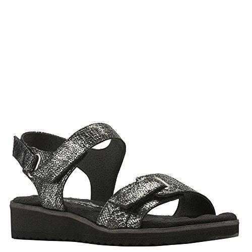(Walking Cradles Women's Halle Black/Silver Snake Sandal)
