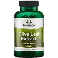 Swanson Olive Leaf Extract Supplement: 500 MG Olive Leaf Extract Capsules with 20% Oleuropein - Antioxidant Rich for Immune Support and Cardiovascular System Health - 120 Capsules