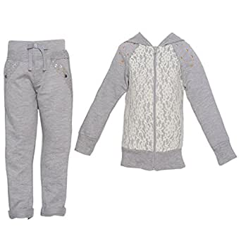 Big Girls Grey Lace Detail Stud Detail Hooded Top 2 Pc Pant Set 10
