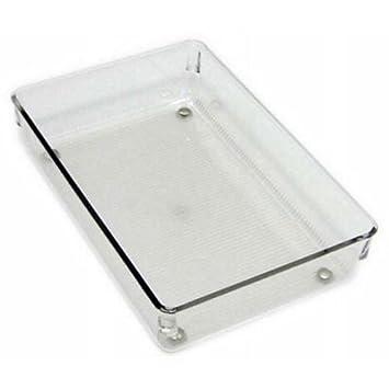 InterDesign Linus Divisorio per cassetti, Piccolo organizzatore cassetti cucina per utensili in plastica, trasparente 52730 utensili; conservare argenteria armadio