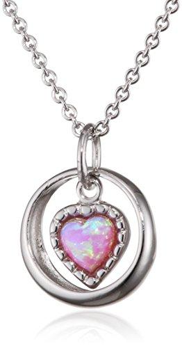 xaana enfants de chaîne avec pendentif en argent 925rhodié opale Coeur Rose Taille 38cm–amz0388
