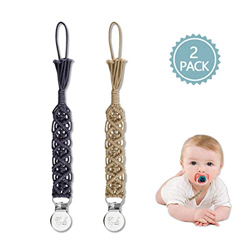 Macrame Pacifier Clips, Soft Chewable Braided Pacifier Leash &Teething Toys-Best for Girls Baby Shower Gifts 2 Pack (Blue,Green)
