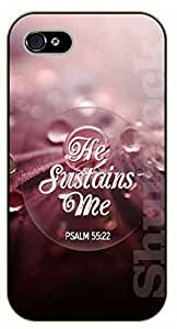 iPhone 5C Bible Verse - He sustains me. Psalm 55:22 - black plastic case / Verses, Inspirational and Motivational