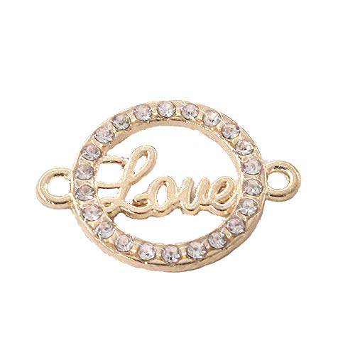 Golden Circularity Shape Diamond Love Letters Accessories Key Chain Bracelet Necklace Pendants for Party Gift