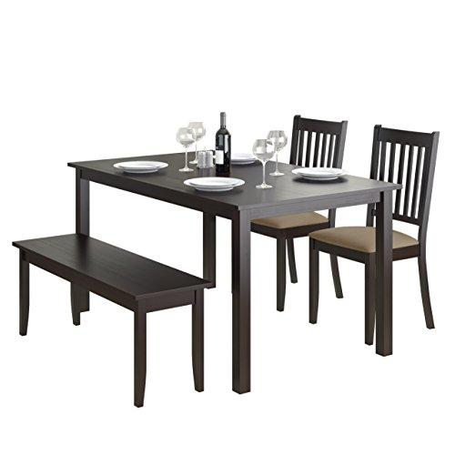 CorLiving DRG-795-Z2 Atwood 4pc Dining Set, with Cappuccino Stained Bench and Set of Chairs
